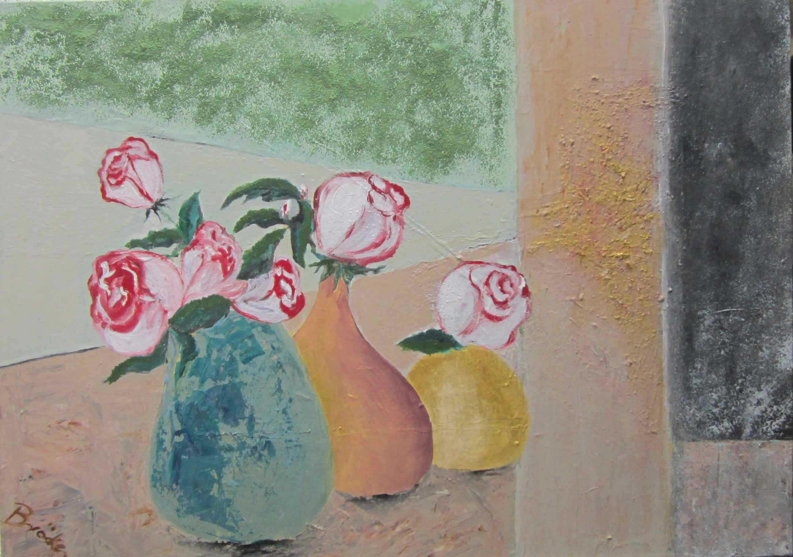 Stilleben mit Rosen--